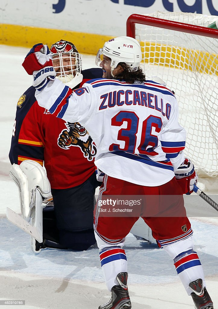 <a gi-track='captionPersonalityLinkClicked' href=/galleries/search?phrase=Mats+Zuccarello&family=editorial&specificpeople=7219903 ng-click='$event.stopPropagation()'>Mats Zuccarello</a> #36 of the New York Rangers celebrates his goal against the Florida Panthers at the BB&T Center on November 27, 2013 in Sunrise, Florida.
