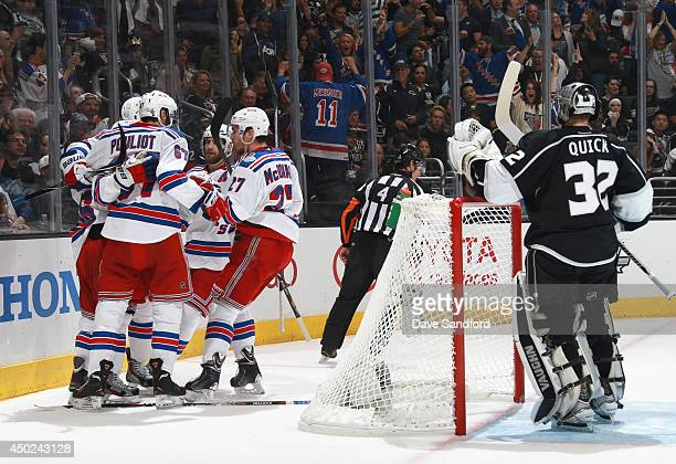 Mats Zuccarello of the New York Rangers celebrates his goal with teammates during Game Two of the 2014 Stanley Cup Final at Staples Center on June 7...