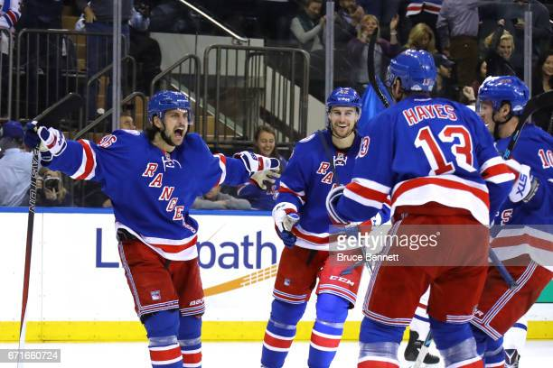 Mats Zuccarello of the New York Rangers celebrates scoring his second goal against Carey Price of the Montreal Canadiens during the second period in...
