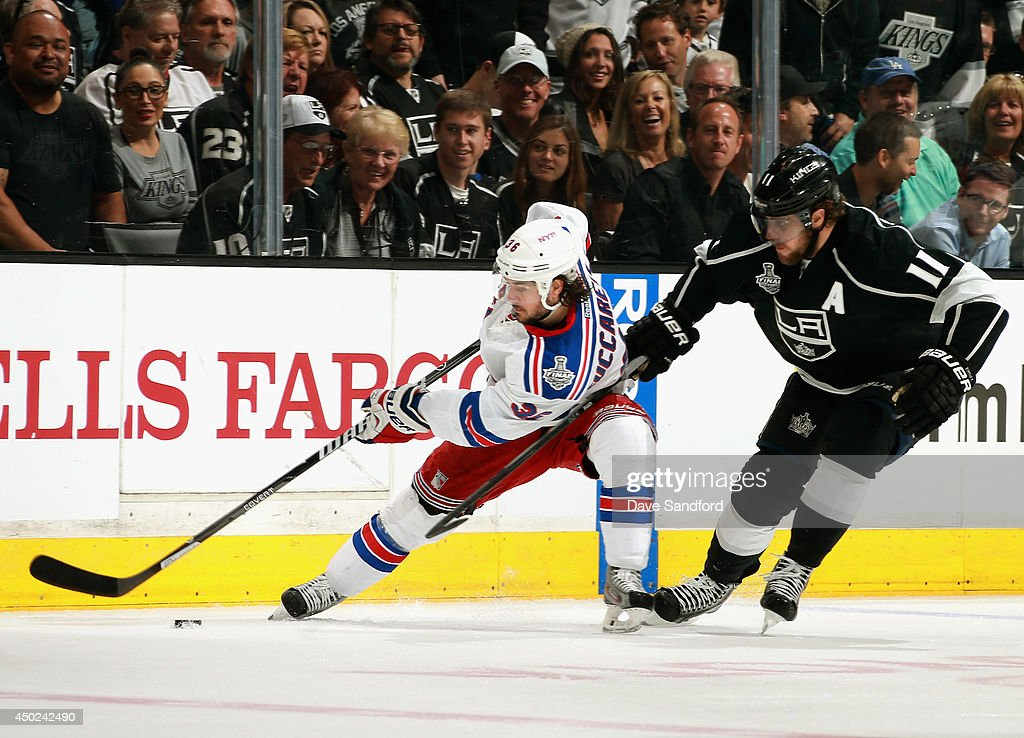 Mats Zuccarello of the New York Rangers is pressured by Anze Kopitar of the Los Angeles Kings during the first period of Game Two of the 2014 Stanley...