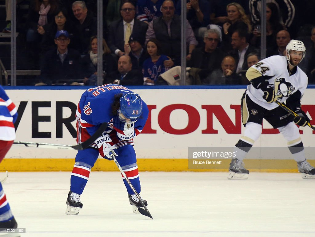 Mats Zuccarello #36 of the New York Rangers leaves the game with an injury and did not return in the game against the Pittsburgh Penguins in Game Five of the Eastern Conference Quarterfinals during the 2015 NHL Stanley Cup Playoffs at Madison Square Garden on April 24, 2015 in New York City. The Rangers defeated the Penguins 2-1 to win the series and move on to the next round of the playoffs.