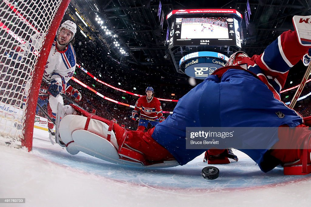 Mats Zuccarello #36 of the New York Rangers scores a goal in the first period past goaltender Carey Price #31 of the Montreal Canadiens in Game One of the Eastern Conference Finals of the 2014 NHL Stanley Cup Playoffs at the Bell Centre on May 17, 2014 in Montreal, Canada.