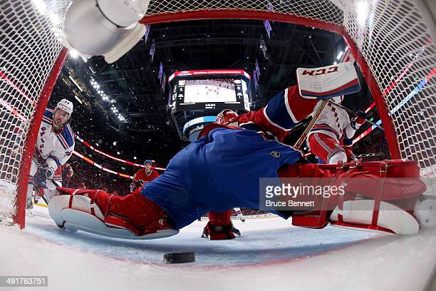 Mats Zuccarello of the New York Rangers scores a goal in the first period past goaltender Carey Price of the Montreal Canadiens in Game One of the...
