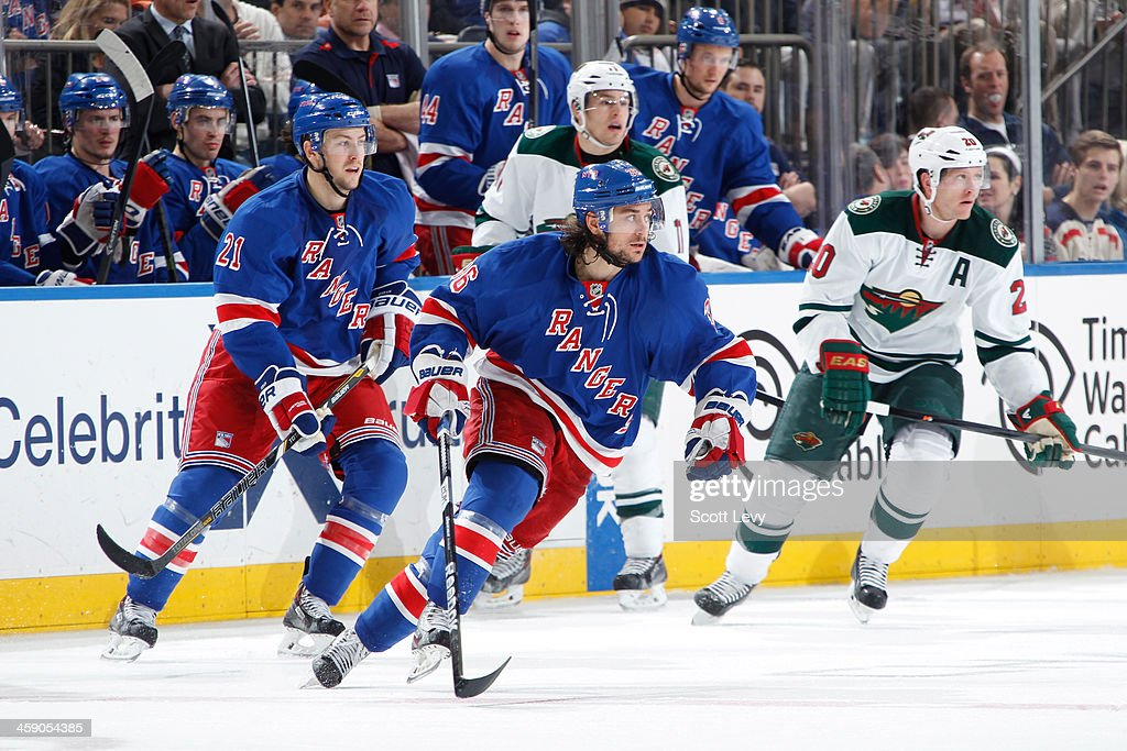 <a gi-track='captionPersonalityLinkClicked' href=/galleries/search?phrase=Mats+Zuccarello&family=editorial&specificpeople=7219903 ng-click='$event.stopPropagation()'>Mats Zuccarello</a> #36 of the New York Rangers skates against the Minnesota Wild at Madison Square Garden on December 22, 2013 in New York City.