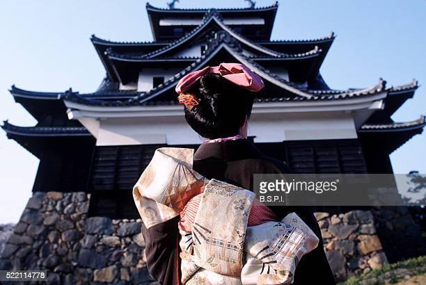 Matsue Castle and Woman in a Kimono