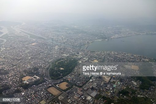 Matsue cityscape aerial view from airplane : ストックフォト