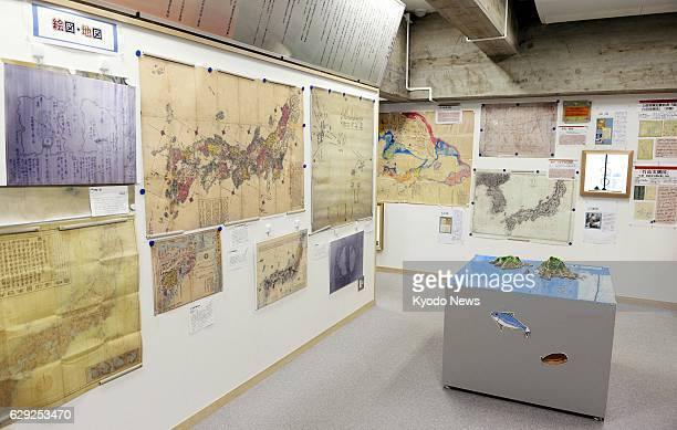 Matsue Japan Maps and other exhibits are shown in a reference room on the disputed Takeshima islets in Matsue Shimane Prefecture western Japan as...