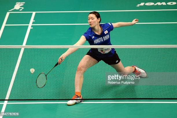 Matsumoto Mayu of Hokuto Bank Japan competes against Sri Fatmawati of Jaya Raya Indonesia during the Djarum Superliga Badminton 2017 at DBL Arena on...
