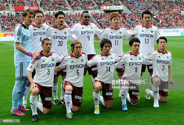 Matsumoto Yamaga players line up for the team photos prior to the JLeague match between Urawa Red Diamonds and Matsumoto Yamaga at Saitama Stadium on...