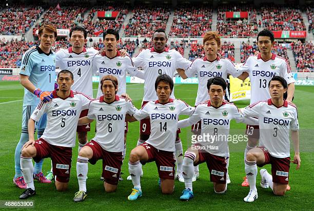 Matsumoto Yamaga players line up for the team photos prior to the JLeague match between Urawa Red Diamonds and Matsumoto Yamaga at Saitama Stadium on...