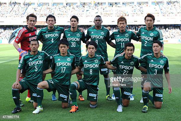 Matsumoto Yamaga players line up for the team photos prior to the JLeague match between Kawasaki Frontale and Matsumoto Yamaga at Todoroki Stadium on...