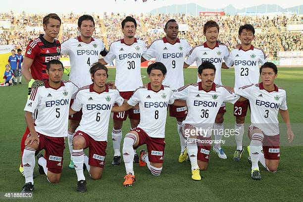 Matsumoto Yamaga players line up for the team photos prior to the JLeague match between Ventforet Kofu and Matsumoto Yamaga at Yamanashi Chuo Bank...