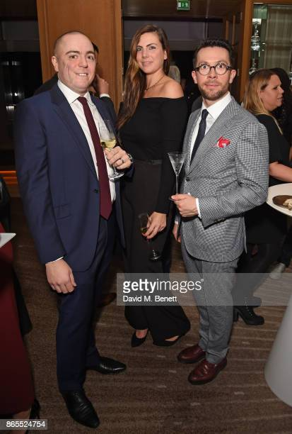Matt Abe Cara Houchen and guest attend 10th anniversary of Alain Ducasse at The Dorchester on October 23 2017 in London England