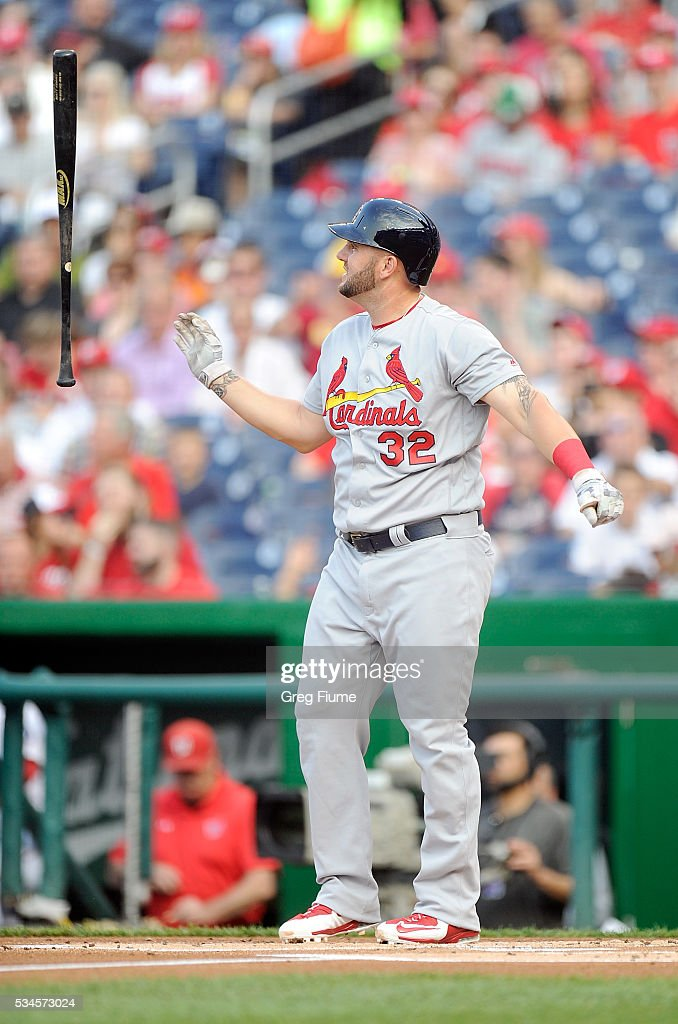 <a gi-track='captionPersonalityLinkClicked' href=/galleries/search?phrase=Matt+Adams+-+Baseball+Player&family=editorial&specificpeople=12797358 ng-click='$event.stopPropagation()'>Matt Adams</a> #32 of the St. Louis Cardinals flips his bat after striking out in the first inning against the Washington Nationals at Nationals Park on May 26, 2016 in Washington, DC.