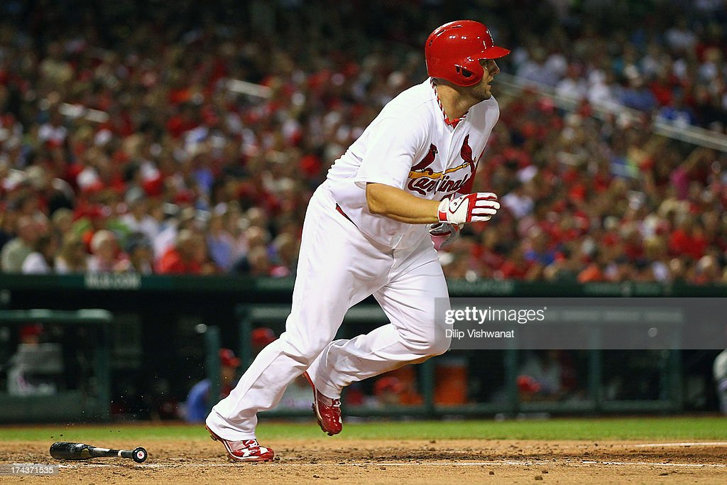 Matt Adams #53 of the St. Louis Cardinals hits an RBI double against the Philadelphia Phillies in the fifth inning at Busch Stadium on July 24, 2013 in St. Louis, Missouri. The Cardinals beat the Phillies 11-3.