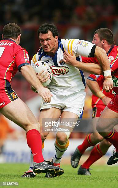 Matt Adamson of Leeds on the charge during the Tetley's Super League match between London Broncos and Leeds Rhinos at Griffin Park on July 18 2004 in...