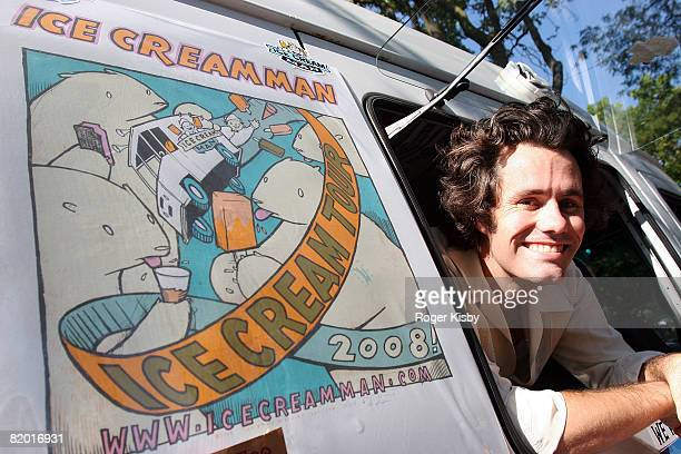 Matt Allen aka The Ice Cream Man gives out ice cream during the Pitchfork Music Festival at Union Park on July 20 2008 in Chicago Illinois