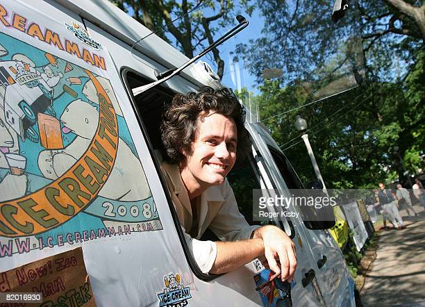 Matt Allen aka the Ice Cream Man gives out ice cream from his van during the Pitchfork Music Festival at Union Park on July 20 2008 in Chicago...