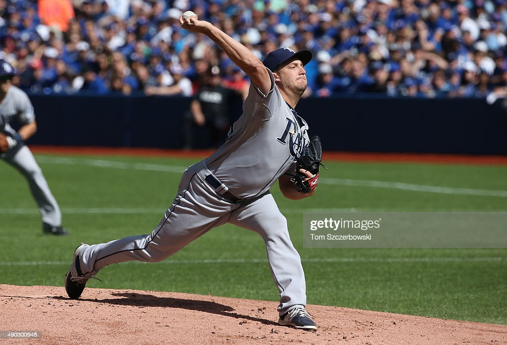 Matt Andriese #35 of the Tampa Bay Rays delivers a pitch in the first inning during MLB game action against the Toronto Blue Jays on September 27, 2015 at Rogers Centre in Toronto, Ontario, Canada.