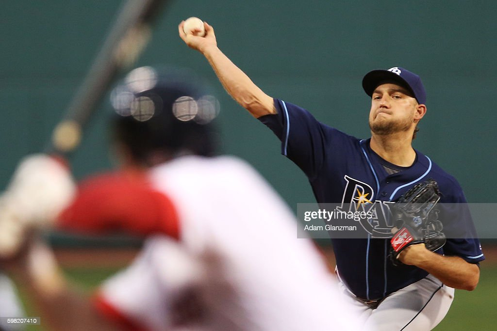 Matt Andriese of the Tampa Bay Rays delivers in the first inning during a game against the Boston Red Sox at Fenway Park on August 29 2016 in Boston...
