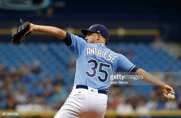 Matt Andriese of the Tampa Bay Rays pitches during the first inning of a game against the Houston Astros on April 23 2017 at Tropicana Field in St...