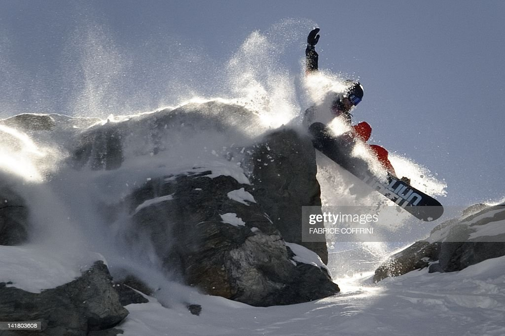 Matt Annetts of the US competes in the Bec de Rosses mountain during the Xtreme Freeride World Tour final on March 24, 2010 above the Swiss Alps resort of Verbier.