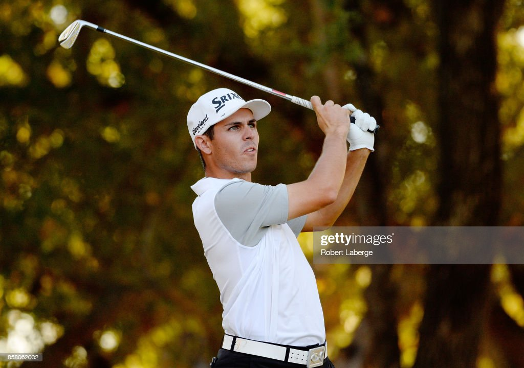 Matt Atkins plays his shot from the 15th tee during the first round of the Safeway Open at the North Course of the Silverado Resort and Spa on October 5, 2017 in Napa, California.