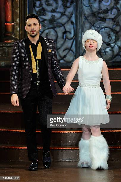 Matt Bacardi walks the runway with a model at Lulu et Gigi Art Hearts Fashion NYFW Fall/Winter 2016 at The Angel Orensanz Foundation on February 15...