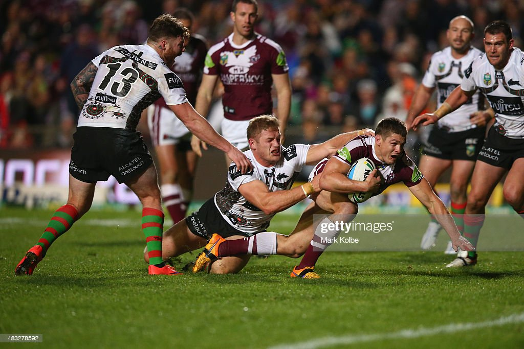 Matt Ballin of the Eagles is tackled short of the try line during the round 22 NRL match between the Manly Sea Eagles and the South Sydney Rabbitohs at Brookvale Oval on August 7, 2015 in Sydney, Australia.