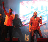 Matt Ban and Dan Domenech performs at the 'Rock Of Ages' Broadway Cast Reunion Concert at Highline Ballroom on January 25 2016 in New York City