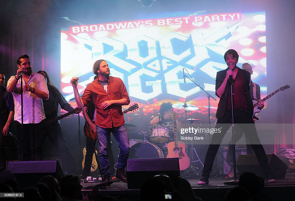 Matt Ban Mitch Jarvis and Dan Domenech performs at the 'Rock Of Ages' Broadway Cast Reunion Concert at Highline Ballroom on January 25 2016 in New...