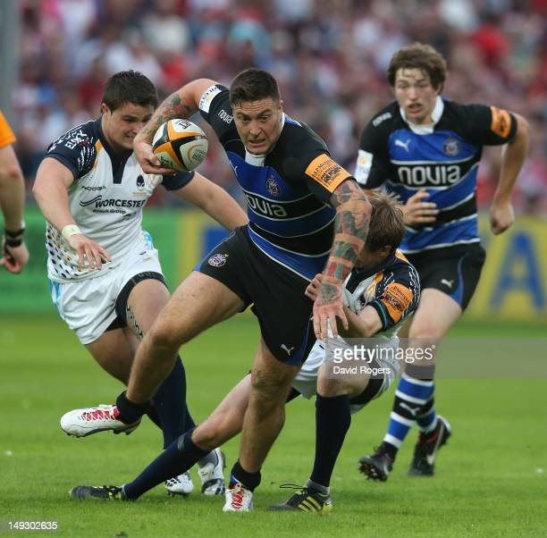 Matt Banahan of Bath breaks clear against Worcester during the JPMorgan Asset Management Premiership Rugby 7's Series at Kingsholm Stadium on July 26...