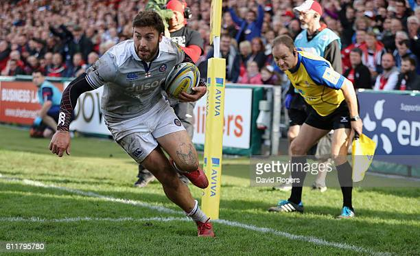 Matt Banahan of Bath breaks clear to score their second try during the Aviva Premiership match between Gloucester and Bath at Kingsholm Stadium on...