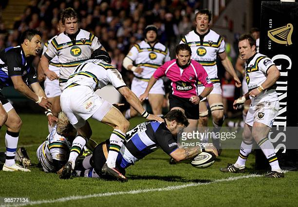 Matt Banahan of Bath dives over for a try during the Guinness Premiership match between Bath and Northampton Saints at the Recreation Ground on April...
