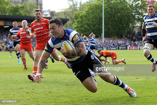 Matt Banahan of Bath dives over to score the opening try of the game during the Aviva Premiership Semi Final match between Bath Rugby and Leicester...