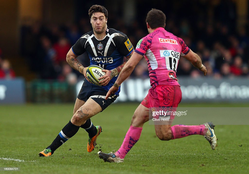 <a gi-track='captionPersonalityLinkClicked' href=/galleries/search?phrase=Matt+Banahan&family=editorial&specificpeople=2156682 ng-click='$event.stopPropagation()'>Matt Banahan</a> of Bath is challenged by Nic Sestaret of Exeter Chiefs during the LV= Cup match between Bath and Exeter Chiefs at the Recreation Ground on January 26, 2013 in Bath, England.