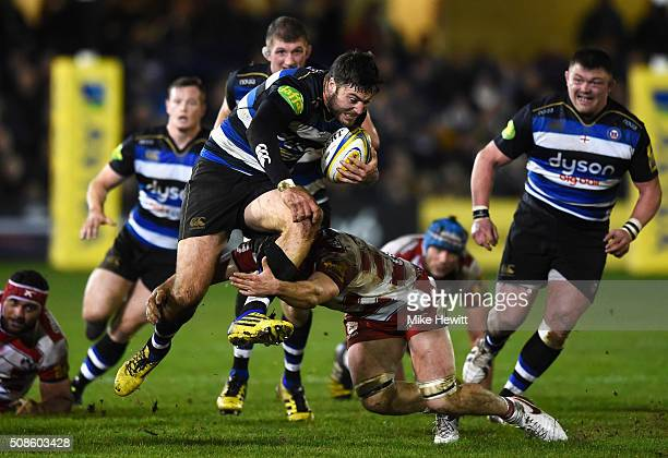 Matt Banahan of Bath Rugby on the charge during the Aviva Premiership match between Bath Rugby and Gloucester Rugby at the Recreation Ground on...