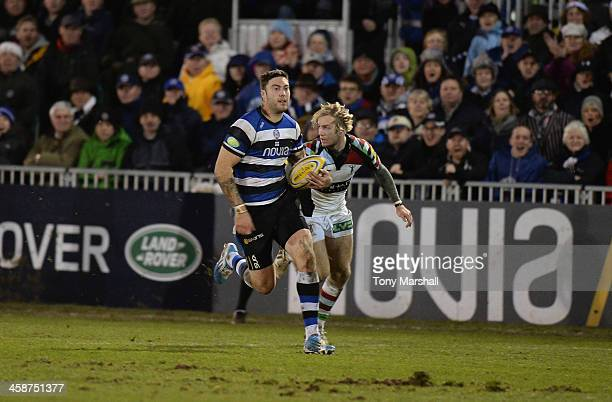 Matt Banahan of Bath runs during the Aviva Premiership match between Bath and Harlequins at Recreation Ground on December 21 2013 in Bath England