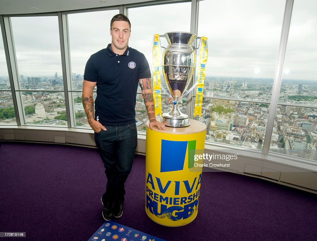 <a gi-track='captionPersonalityLinkClicked' href=/galleries/search?phrase=Matt+Banahan&family=editorial&specificpeople=2156682 ng-click='$event.stopPropagation()'>Matt Banahan</a> of Bath stands with the Aviva Premiership Trophy during the 2013-14 Aviva Premiership Rugby Season Fixtures Announcement at The BT Tower on July 4, 2013 in London, England.