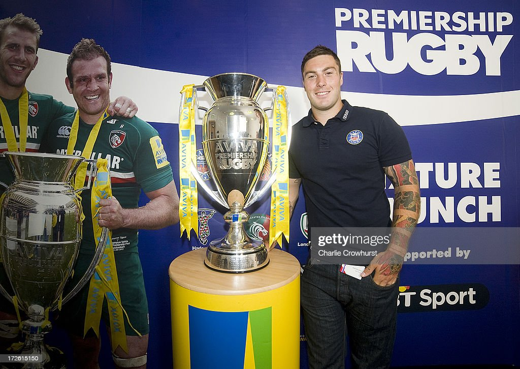 Matt Banahan of Bath stands with the Aviva Premiership Trophy during the 2013-14 Aviva Premiership Rugby Season Fixtures Announcement at The BT Tower on July 4, 2013 in London, England.