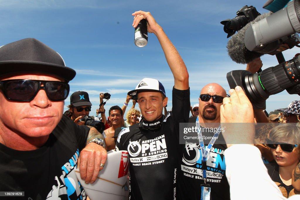 Matt Banting of Australia celebrates winning the Men's Final of the 2012 Australian Surfing Open on February 19, 2012 in Manly, Australia.