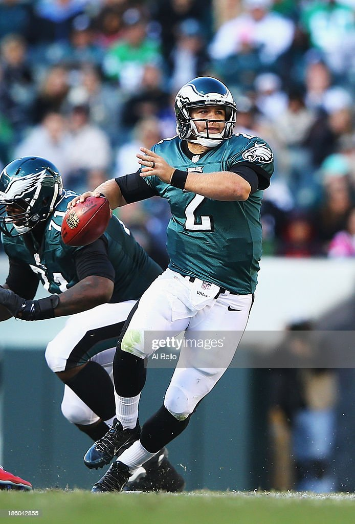 Matt Barkley #2 of the Philadelphia Eagles scrambles against the New York Giants during their game at Lincoln Financial Field on October 27, 2013 in Philadelphia, Pennsylvania.