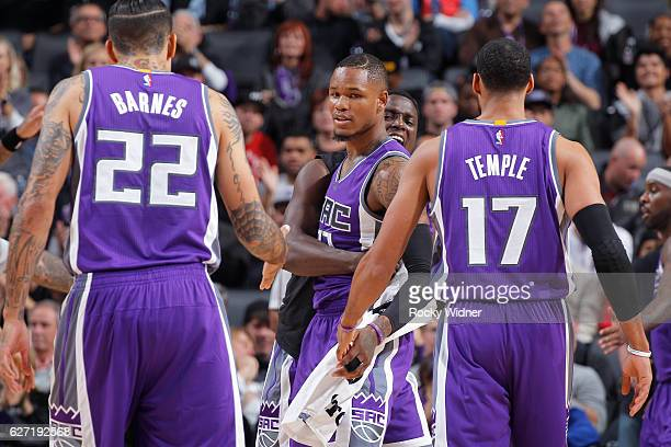 Matt Barnes Ben McLemore and Garrett Temple of the Sacramento Kings celebrate during the game against the Oklahoma City Thunder on November 23 2016...