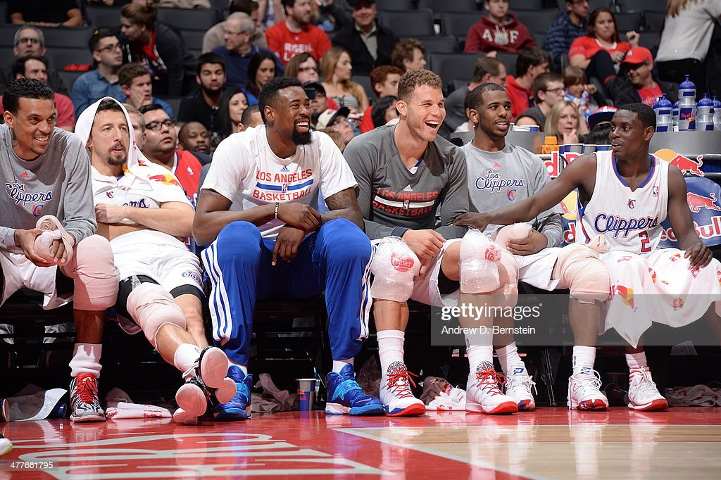 <a gi-track='captionPersonalityLinkClicked' href=/galleries/search?phrase=Matt+Barnes+-+Basketball+Player&family=editorial&specificpeople=202880 ng-click='$event.stopPropagation()'>Matt Barnes</a> #22, <a gi-track='captionPersonalityLinkClicked' href=/galleries/search?phrase=Hedo+Turkoglu&family=editorial&specificpeople=201639 ng-click='$event.stopPropagation()'>Hedo Turkoglu</a> #8, <a gi-track='captionPersonalityLinkClicked' href=/galleries/search?phrase=DeAndre+Jordan&family=editorial&specificpeople=4665718 ng-click='$event.stopPropagation()'>DeAndre Jordan</a> #6; <a gi-track='captionPersonalityLinkClicked' href=/galleries/search?phrase=Blake+Griffin+-+Basketball+Player&family=editorial&specificpeople=4216010 ng-click='$event.stopPropagation()'>Blake Griffin</a> #32, <a gi-track='captionPersonalityLinkClicked' href=/galleries/search?phrase=Chris+Paul&family=editorial&specificpeople=212762 ng-click='$event.stopPropagation()'>Chris Paul</a> #3 and <a gi-track='captionPersonalityLinkClicked' href=/galleries/search?phrase=Darren+Collison&family=editorial&specificpeople=699031 ng-click='$event.stopPropagation()'>Darren Collison</a> #2 of the Los Angeles Clippers sit on the bench against the New Orleans Pelicans at STAPLES Center on March 1, 2014 in Los Angeles, California.