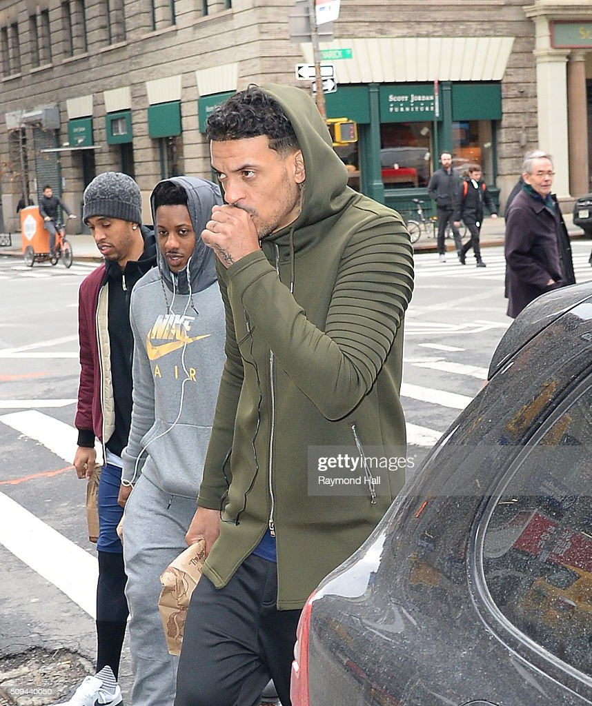 Matt Barnes is seen walking in Soho on February 10, 2016 in New York City.