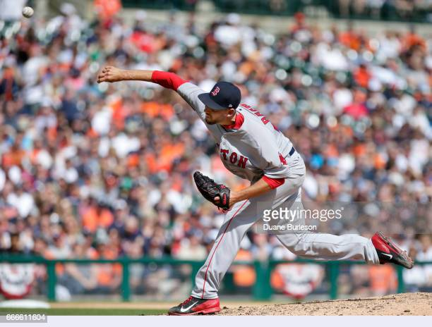 Matt Barnes of the Boston Red Sox pitches against the Detroit Tigers during the seventh inning at Comerica Park on April 9 2017 in Detroit Michigan...