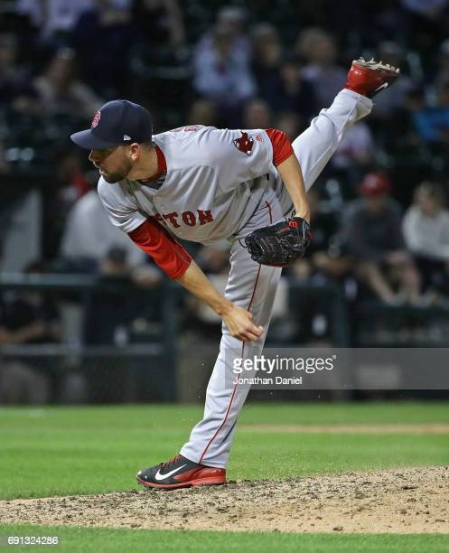 Matt Barnes of the Boston Red Sox pitches againt the Chicago White Sox at Guaranteed Rate Field on May 31 2017 in Chicago Illinois The Red Sox...