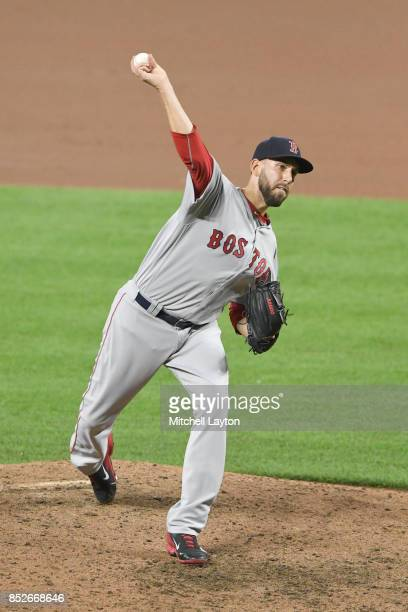 Matt Barnes of the Boston Red Sox pitches during a baseball game against the Baltimore Orioles at Oriole Park at Camden Yards on September 18 2017 in...