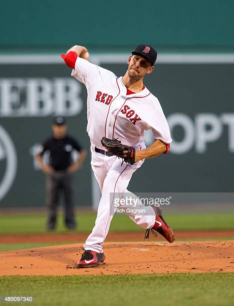 Matt Barnes of the Boston Red Sox pitches during the first inning against the Cleveland Indians at Fenway Park on August 17 2015 in Boston...