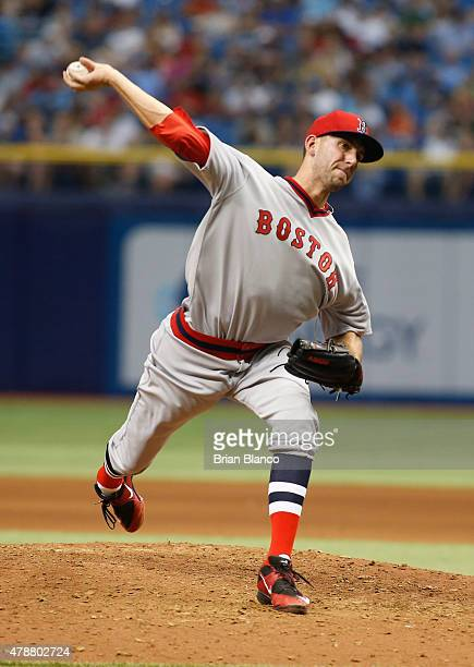Matt Barnes of the Boston Red Sox pitches during the seventh inning of a game against the Tampa Bay Rays on June 27 2015 at Tropicana Field in St...